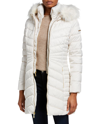 Mid-Weight 3/4 Puffer Coat w/ Faux-Fur Trim