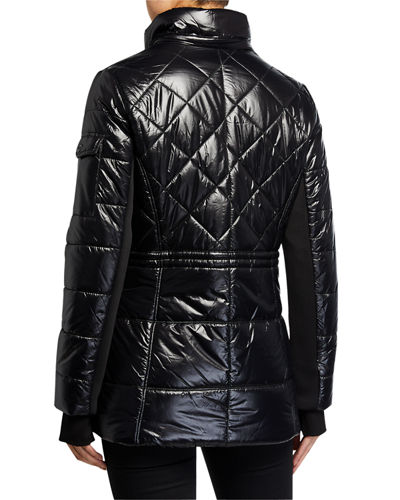 Quilt Detachable Faux-FurTrim Hood Jacket