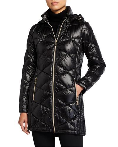 Hooded Diamond Quilt Packable Coat