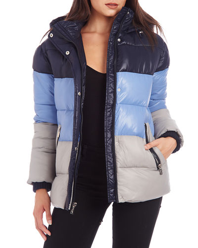 Colorblock Hooded Puffer Coat