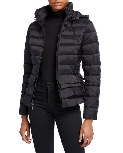 Zoey Flare-Hem Stand-Collar Packable Puffer Jacket