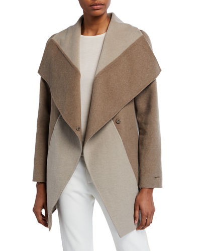 Nicky Double-Face Wool-Blend Two-Tone Jacket