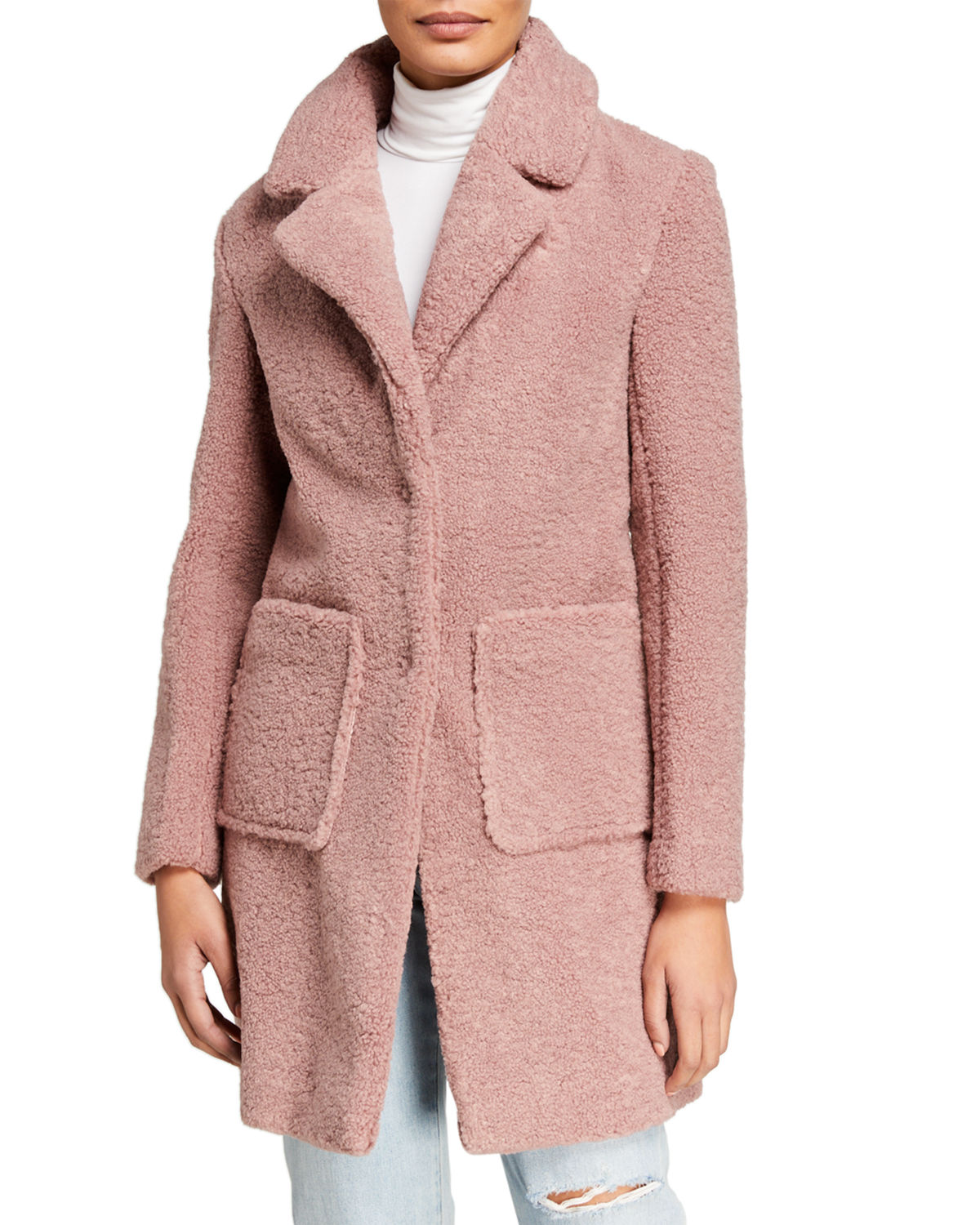 French Connection Coats FAUX FUR SHEARLING 3/4 COAT