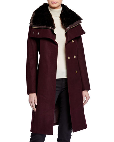 Zip-Out Vest Wool Coat w/ Faux-Fur Collar
