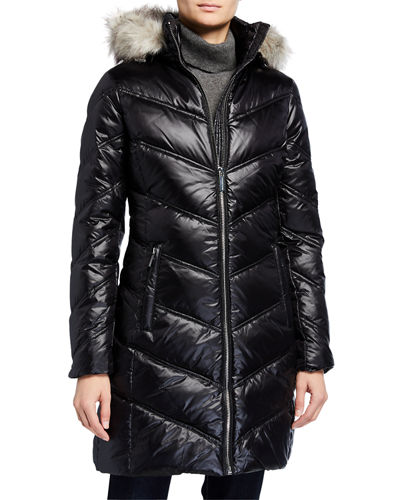 Chevron Shiny Puffer Coat with Faux-Fur Trim