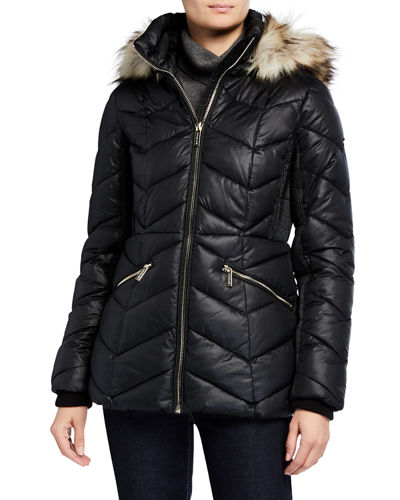 Faux-Fur Trimmed Puffer Coat