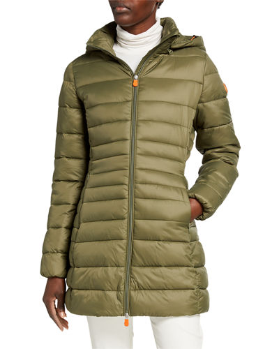 Basic Long Puffer Coat with Removable Hood