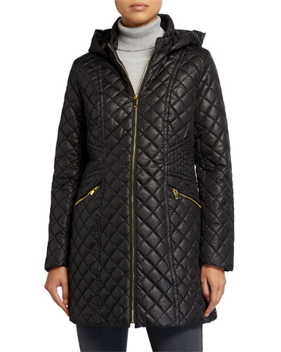 Diamond Stitch Hooded Quilt Coat