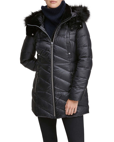 Shirley Velvet-Trim Quilted Parka Coat with Faux-Fur Hood