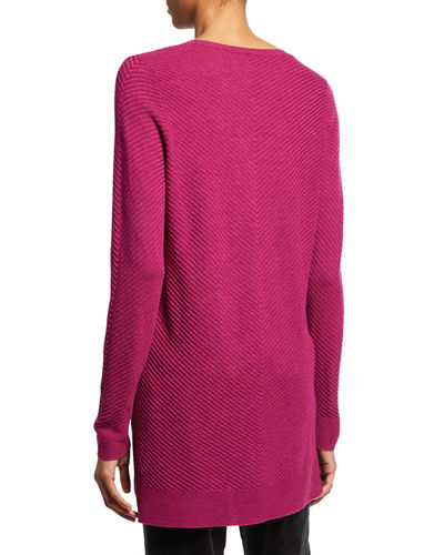 Textured Wool Crepe V-Neck Sweater