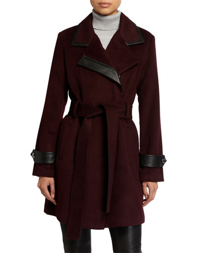 Millie Wool-Blend Faux Leather Coat