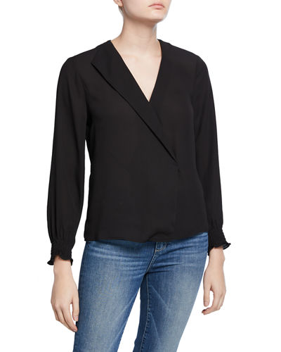 Long-Sleeve Blouse with Asymmetric Folded Collar