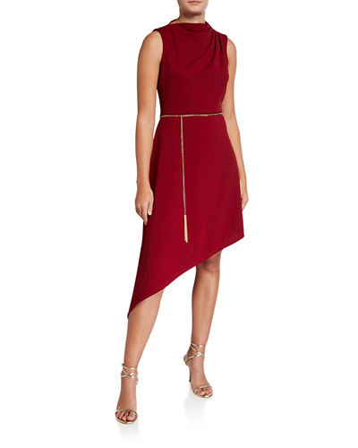 Asymmetric High-Neck Sleeveless Dress w/ Chain Belt