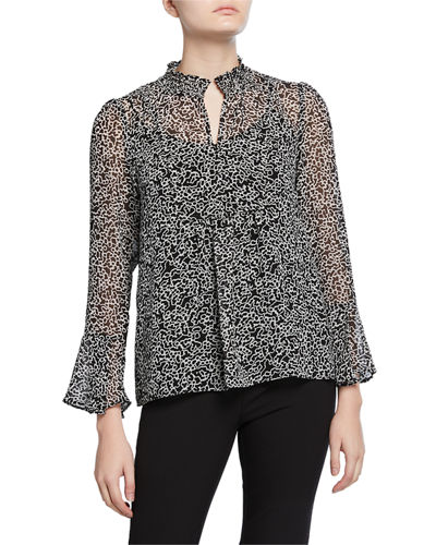 Printed Mock-Neck Blouse