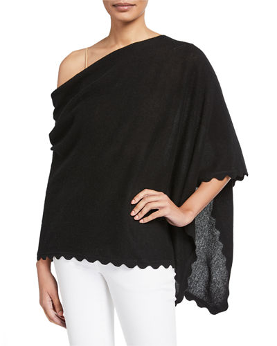Cashmere One-Shoulder Scallop Trim Ruana