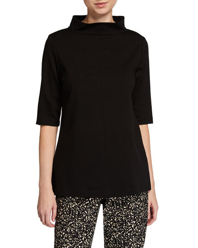Funnel-Neck Elbow-Sleeve Ponte Tunic Top