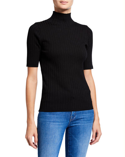 Short-Sleeve Turtleneck Rib Sweater