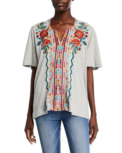 Ornella Embroidered Flutter-Sleeve Cotton Blouse
