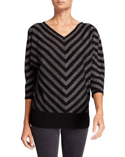 Mitered Stripe 3/4 Dolman-Sleeve Sweater