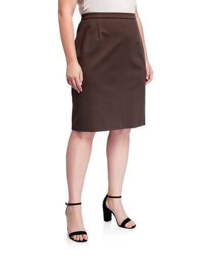 Plus Size Slim Ponte Jersey Knee-Length Skirt