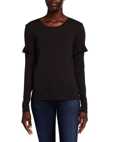 Long-Sleeve Ruffle-Trim Tee
