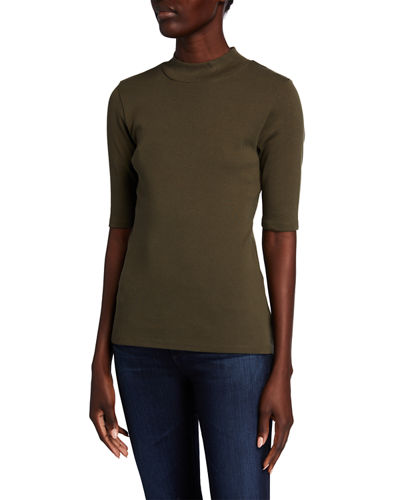 Half-Sleeve Mock-Neck Top