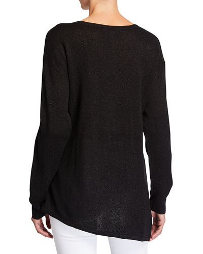 Asymmetrical Long-Sleeve Metallic Sweater