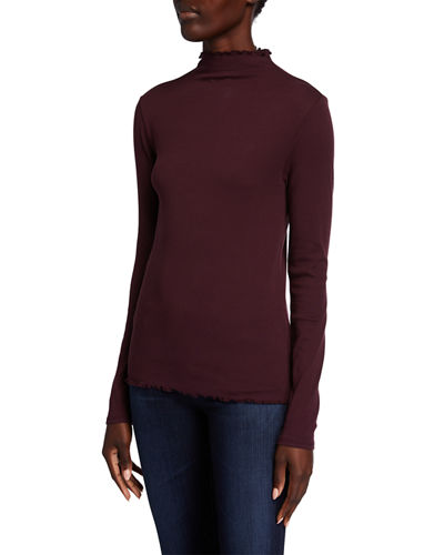 Lettuce Edge Mock-Neck Top