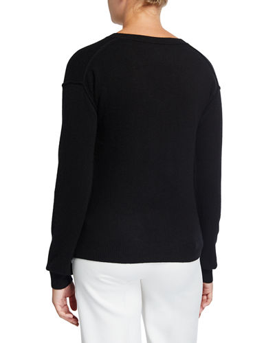 V-Neck Long-Sleeve Twist-Front Knit Crop Top