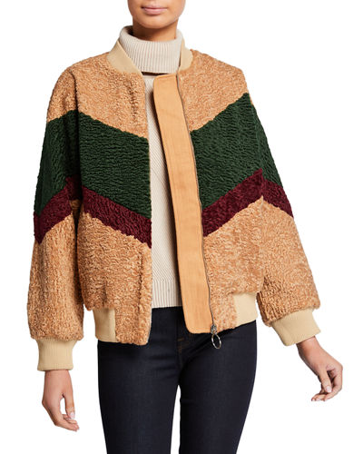 Colorblocked Teddy-Knit Bomber Jacket