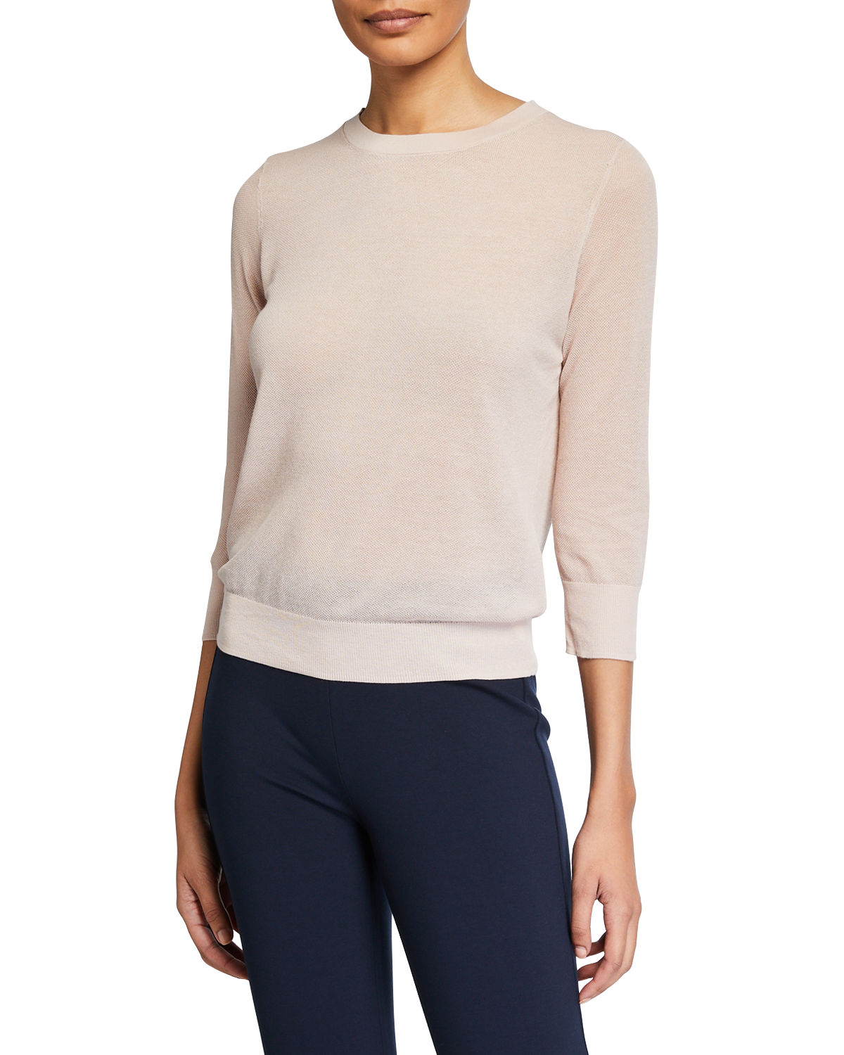 Vince Cottons TEXTURED ELBOW-SLEEVE PULLOVER