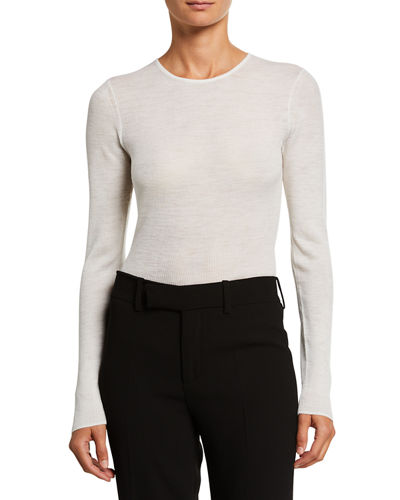 Long-Sleeve Ribbed Wool Crewneck Top