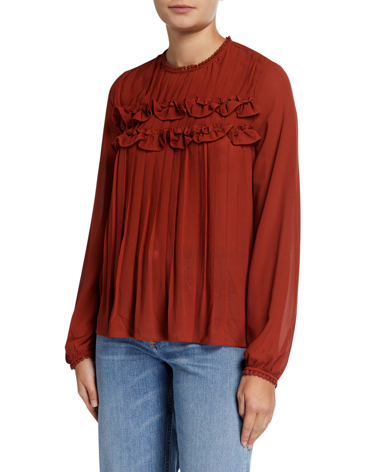 Endless Rose Tops PLEATED BLOUSE W/ LACE DETAIL