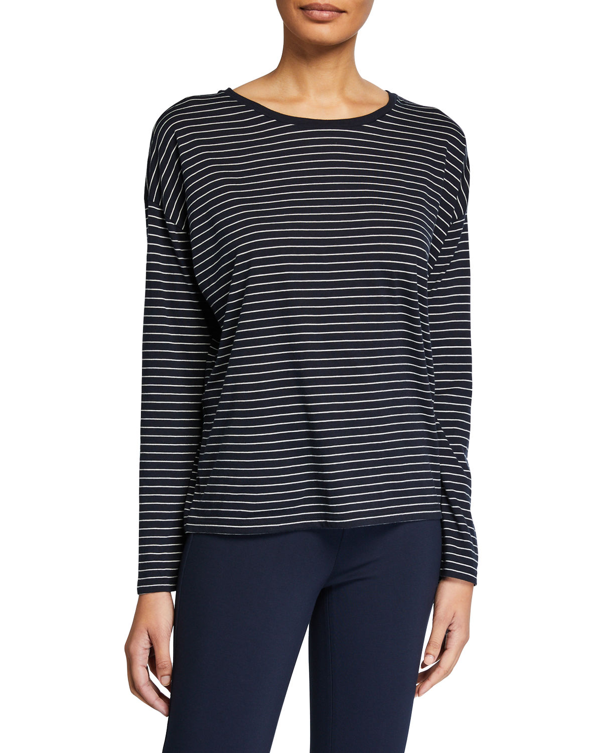 Vince Cottons PENCIL STRIPE LONG-SLEEVE RELAXED TOP