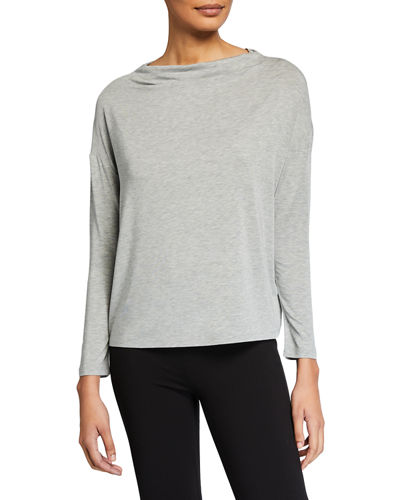 Long-Sleeve Mock Boat-Neck Pullover Top