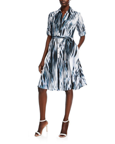 Abstract-Print A-Line Dress