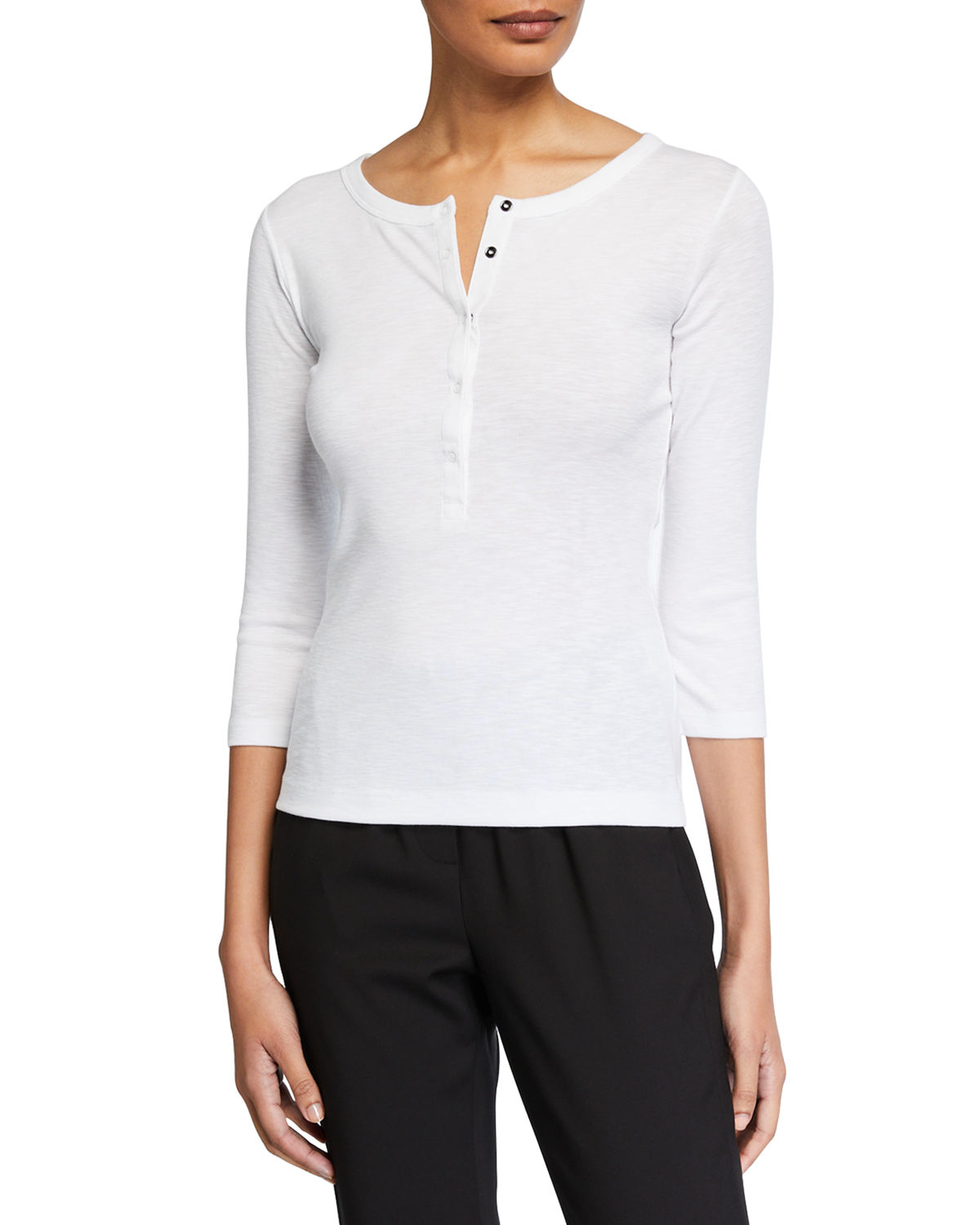 Vince Tops 3/4-Sleeve Henley Top, WHITE