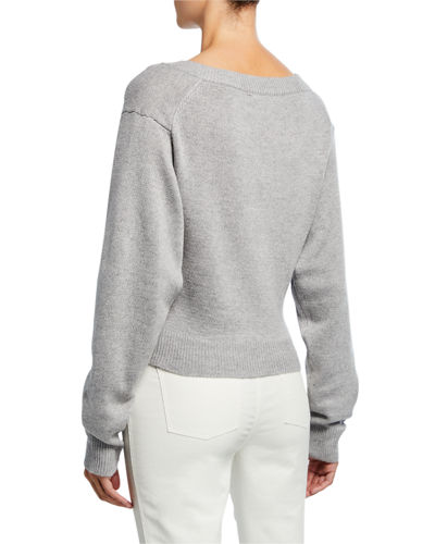 Twist-Front V-Neck Sweater