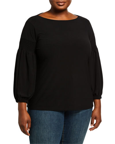 Plus Size Long-Sleeve Crepe Knit Top