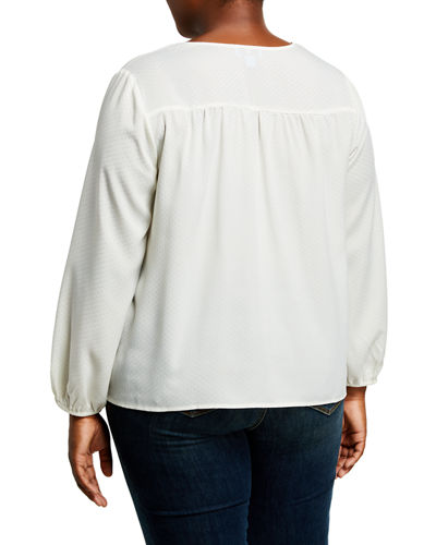Plus Size Jacquard Long-Sleeve Top