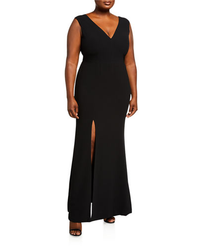 Plus Size Sandra V-Neck Sleeveless Column Gown with Slit