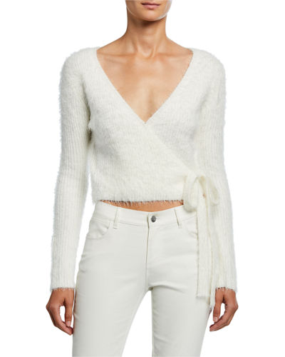 Fuzzy Wrap-Front Sweater