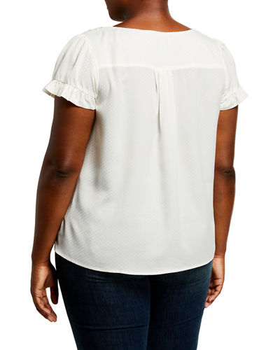 Plus Size Jacquard Ruffle-Sleeve Top