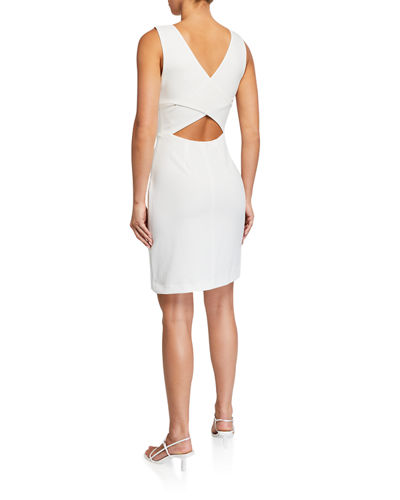 Scuba Crepe Cutout-Back Cocktail Dress