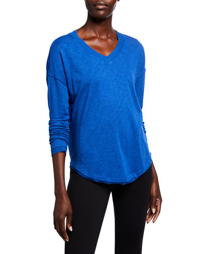 Rib Trim V-neck Long-Sleeve  Tee