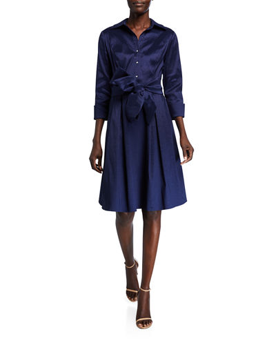 Taffeta Tie-Waist Shirtdress