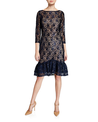 Illusion Lace Ruffle-Hem Cocktail Dress