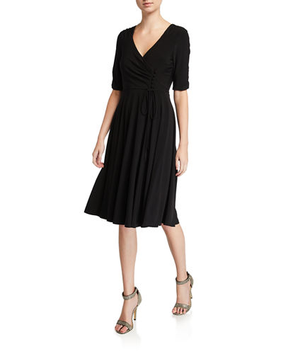 Ruched-Sleeve Interlock Dress W/ Button
