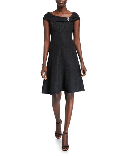 Brooch Fold-Over Fit-&-Flare Dress