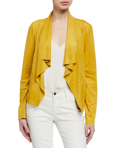 Faux-Suede Draped Jacket